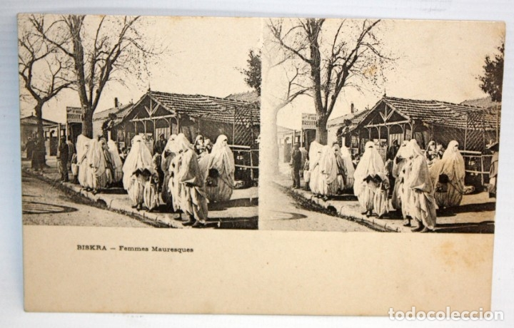 ANTIGUA POSTAL ESTEREOSCOPICA DE BISKRA (ALGERIA). FEMMES MAURESQUES. SIN CIRCULAR (Postales - Postales Extranjero - África)