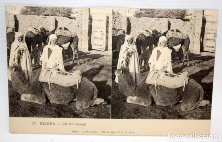 ANTIGUA POSTAL ESTEREOSCOPICA DE BISKRA (ALGERIA). UN FONDOUCK. SIN CIRCULAR (Postales - Postales Extranjero - África)