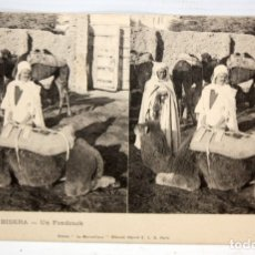 Postales: ANTIGUA POSTAL ESTEREOSCOPICA DE BISKRA (ALGERIA). UN FONDOUCK. SIN CIRCULAR. Lote 173075998