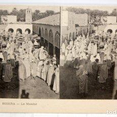 Postales: ANTIGUA POSTAL ESTEREOSCOPICA DE BISKRA (ALGERIA). LE MARCHE. SIN CIRCULAR. Lote 173076110