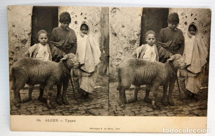 ANTIGUA POSTAL ESTEREOSCOPICA DE ALGER (ALGERIA). TYPES. SIN CIRCULAR (Postales - Postales Extranjero - África)