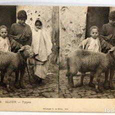 Postales: ANTIGUA POSTAL ESTEREOSCOPICA DE ALGER (ALGERIA). TYPES. SIN CIRCULAR. Lote 173076314