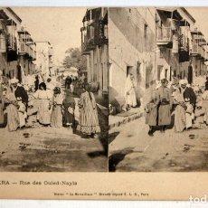 Postales: ANTIGUA POSTAL ESTEREOSCOPICA DE BISKRA (ALGERIA). RUE DES OULED-NAYLS. SIN CIRCULAR. Lote 173076443