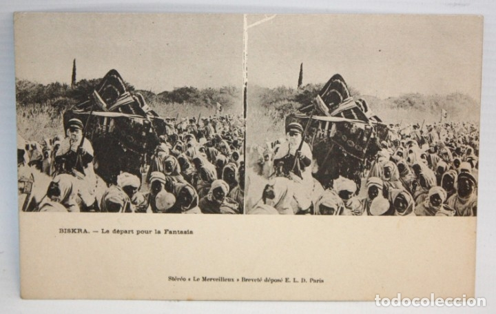 ANTIGUA POSTAL ESTEREOSCOPICA DE BISKRA (ALGERIA). LE DEPART POUR LA FANTASIA. SIN CIRCULAR (Postales - Postales Extranjero - África)