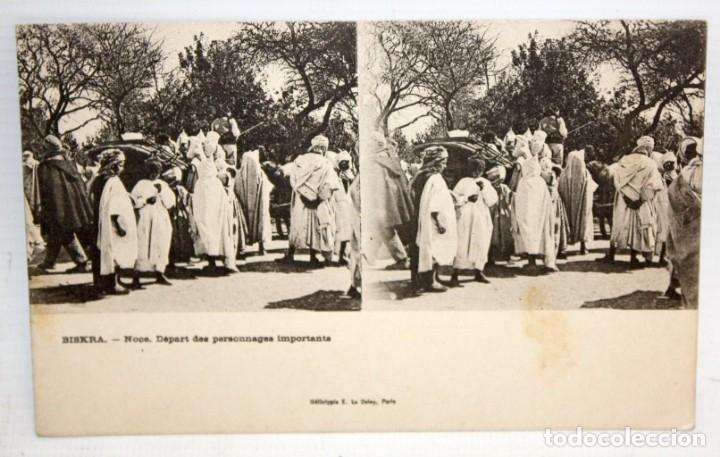 POSTAL ESTEREOSCOPICA DE BISKRA (ALGERIA) - NOCE, DEPART DES PERSONNAGES IMPORTANTS. SIN CIRCULAR (Postales - Postales Extranjero - África)
