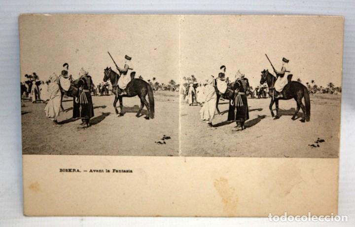ANTIGUA POSTAL ESTEREOSCOPICA DE BISKRA (ALGERIA). AVANT LA FANTASIA. SIN CIRCULAR (Postales - Postales Extranjero - África)