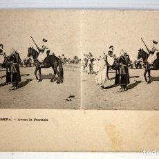 Postales: ANTIGUA POSTAL ESTEREOSCOPICA DE BISKRA (ALGERIA). AVANT LA FANTASIA. SIN CIRCULAR. Lote 173132419