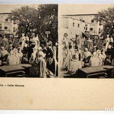 Postales: ANTIGUA POSTAL ESTEREOSCOPICA DE BISKRA (ALGERIA). CAFES MAURES. SIN CIRCULAR. Lote 173132807