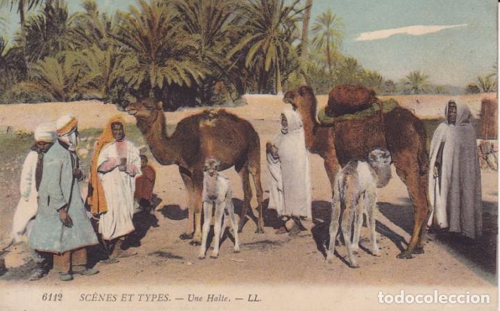 6112 SCENES ET TYPES UNA HALTE LL ESCRITA MELILLA 1910 (Postales - Postales Extranjero - África)