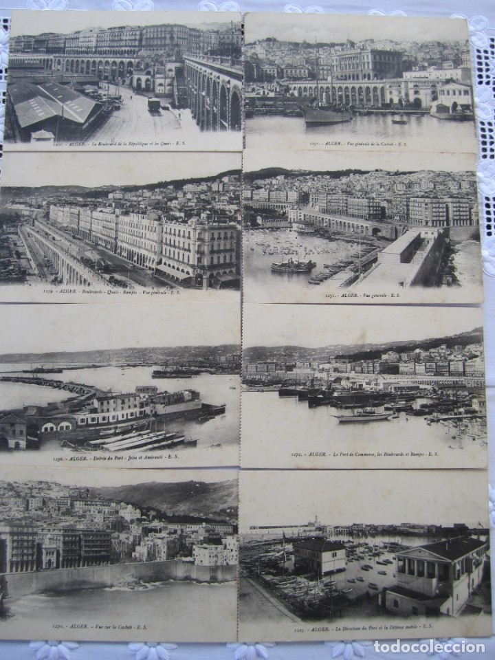 78-LOTE DE 8 POSTALES DE ARGEL (ALGER)-PRINCIPIOS SIGLO XX-LA CASBAH-PUERTO-BOULEVARES Y RAMPAS (Postales - Postales Extranjero - África)