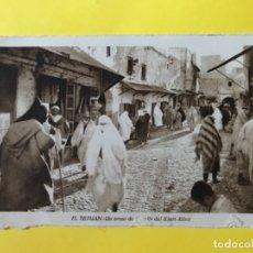 Postales: TETUAN MARRUECOS POSTAL 15 UN TROZO DE LA CALLE DE KIARI ALLUM FOT ROISIN PROTECTORADO GUERRA AFRICA. Lote 179005002