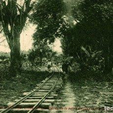 Postales: GUINEA CONTINENTAL. LINEA FERREA ATRAVÉS DE LA SELVA EN LAS EXPLOTACIONES DE SOCOGUI. Lote 182920301