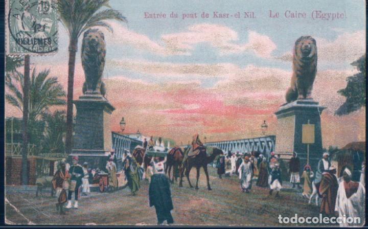 POSTAL EGIPTO - ENTREE DU PONT DE KASR EL NIL - LE CAIRE - EGYPTE (Postales - Postales Extranjero - África)