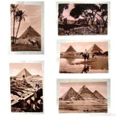 Postales: LOTE 5 POSTALES EGIPTO-PIRAMIDE KEOPS KEFREN GUIZA TEMPLO ESFINGE-LEHNERT & LANDROCK-LUXOR-AÑOS 1940. Lote 189822908