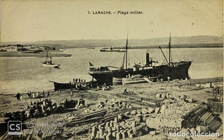 TARJETA POSTAL. TANGER. 7.- LARACHE. PLAYA MILITAR. 1914. (Postales - Postales Extranjero - África)