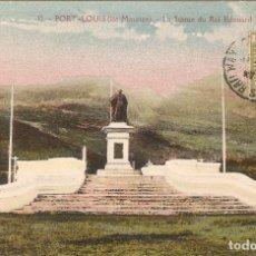 Postales: PORT LOUIS (ISLA MAURICIO) LA ESTATUA DEL REY EDUARDO VII. CIRCULADA A ORENSE (ESPAÑA) . Lote 191352020