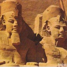 Postales: EGIPTO, VISTA GRANDES ESTATUAS, TEMPLO RAMSES II - S/C. Lote 191979820