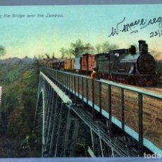 Postales: POSTAL RÍO ZAMBEZE TREN ZAMBESI TRAIN CROSSING THE BRIDGE PUENTE HIERRO RO FUESSIEIN CIRCULADA 1912. Lote 195302972