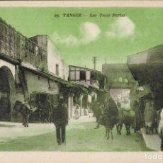Postales: TANGER, MARRUECOS. Nº 29, LES TROIS PORTES. ED. LEBRUN FRÉRÉS. MACON.. Lote 211973493