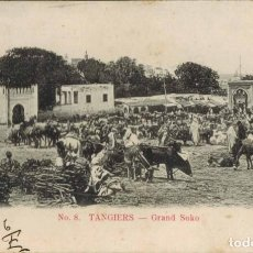 Postales: TANGER, MARRUECOS. Nº 8, GRAN ZOCO. CIRCULADO 1906, SIN SELLO. Lote 211975016