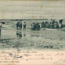 """Postales: TANGER, MARRUECOS. PESCADORES ÁRABES. Nº 5 """"AU GRAND PARIS"""", NAHON & LASRY. CIRCULADA 1904 SIN SELLO. Lote 211976623"""