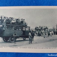Postales: T-364.- POSTAL DE -CASABLANCA (MARRUECOS ) - LE DEPART POUR LE BLED SUR LES AUTOS DE LA C.T.M.. Lote 221924025