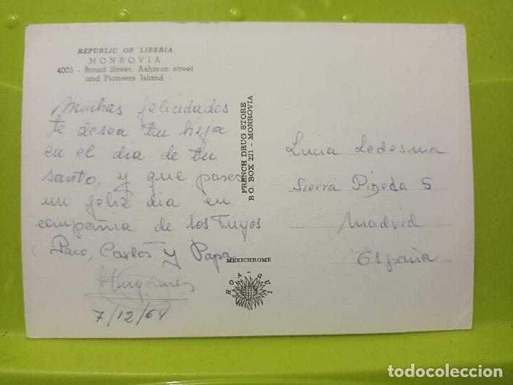 Postales: MONROVIA LIBERIA BROAD STREET ASHMUN ESCRITA AÑOS 60 - Foto 2 - 245490325
