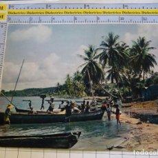Postales: POSTAL DE ÁFRICA SUBSAHARIANA. FOLKLORE ESCENA VIVA ÉTNICA. VILLA JUNTO AL AGUA. 3382. Lote 255651660