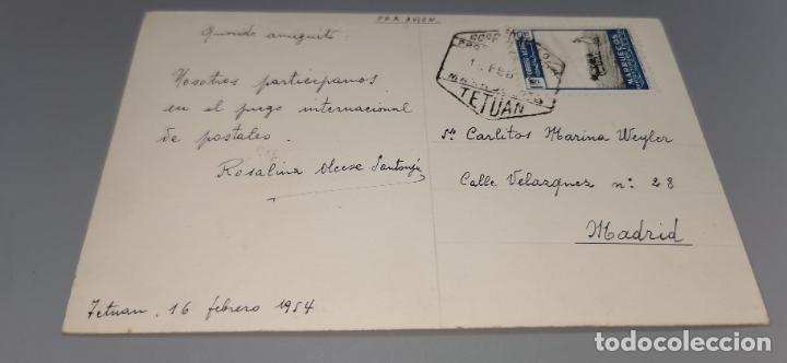 Postales: Postal Plaza España TETUAN años 50 circulada con sello protectorado Marruecos - Foto 2 - 262842890