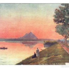 Postales: EGIPTO - ON THE WAY TO THE PYRAMIDS - CIRCULADA EN 1914. Lote 265860009