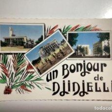 Postales: POSTAL SALUDO DE DJIDJELLI, ARGELIA. CIRCULADA MATASELLO 1958.. Lote 270642048