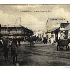 Postales: ANTIGUA POSTAL MARRUECOS - CASABLANCA - AVENUE DU GENERAL DRUDE - SIN CIRCULAR - AÑOS 1910 - 1920. Lote 273280738