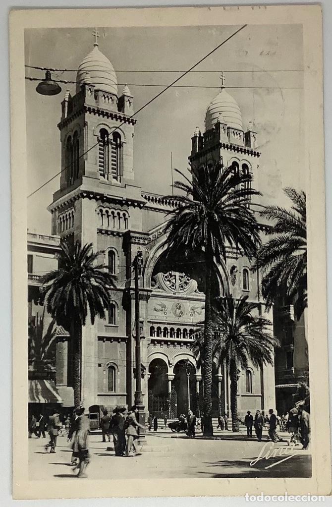 TÚNEZ, TUNIS, LA CATHEDRALE. LINA. FOTO REAL. CIRCULADA 1951. (Postales - Postales Extranjero - África)