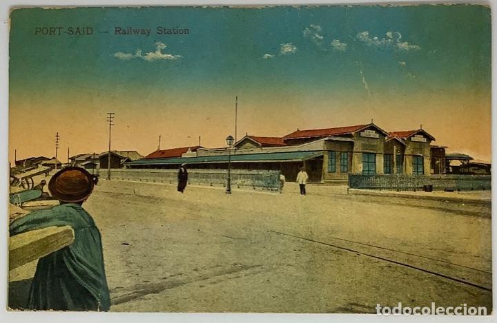 EGIPTO, EGYPT PORT SAID. RAILWAY STATION. CAIRO POSTCARD. CIRC 1925. SIN SELLO. (Postales - Postales Extranjero - África)