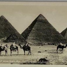 Postales: EGIPTO, EGYPT CAIRO MEMORIALS OF 4000 YEARS. PYRAMIDS OF GIZEH. ORIENTAL BUREAU. FOTO REAL. Lote 288728983