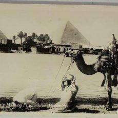 Postales: EGIPTO, EGYPT CAIRO MOSLEM'S MORNING PRAYER NEAR PYRAMIDS. .ORIENTAL BUREAU. FOTO REAL. Lote 288730238