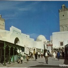 Postales: TUNEZ, TUNISIA KAOIROUAN, LES SOUKS. SELLO 1970. Lote 294436693