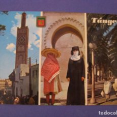 Postales: POSTAL DE MARRUECOS. TANGER. ZOCO GRANDE, MEZQUITA DE SIDI BU-ABID. TRAJES TIPICOS, AV. DE ESPAÑA.. Lote 296617048