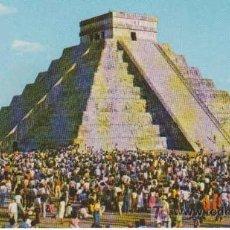 Postales: POSTAL ANTIGUA : EL ESPECTÁCULO DEL EQUINOCCIO EN EL CASTILLO. CHICHEN ITZA, YUCATÁN, MÉXICO. Lote 10435835