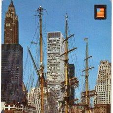 Postales: Nº 17729 POSTAL NEW YORK RIO HUDSON BARCO TORRES GEMELAS ESTADOS UNIDOS. Lote 24026568