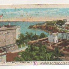 Postales: PUERTO RICO. SAN JUAN. PALACIO DEL GOVERNADOR Y CASA BLANCA. 1909. . Lote 11987153