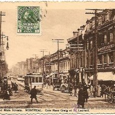 Postales: MONTREAL - COR. CRAIG AND MAIN STREETS - POSTAL CIRCULADA DE DESCHAMBAULT A MADRID AÑO 1915. Lote 22406322