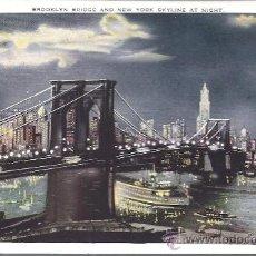 Postales: PS3912 NUEVA YORK 'BROOKLYN BRIDGE AND NY SKYLINE AT NIGHT'. SIN REFERENCIAS. SIN CIRCULAR. Lote 18185744