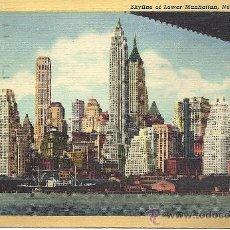 Postales: PS3913 NUEVA YORK 'SKYLINE OF LOWER MANHATTAN'. ALFRED MAINZER. CIRCULADA ENTRE NY Y BARCELONA, 1947. Lote 18185813