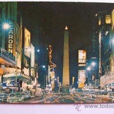 Postales: BUENOS AIRES, ARGENTINA. AVENIDA CORRIENTES Y OBELISCO. OBELISK AT NIGHT.. Lote 25839289