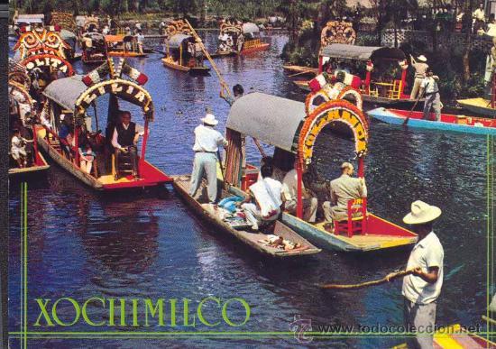 Mexico jardines flotantes de xochimilco postal comprar for Jardin xochimilco