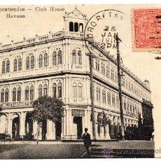 Postales: CUBA, 1916 , CENTRO DE DEPENTIENDES, CLUB HOUSE HAVANA, CIRCULADA. Lote 30011594