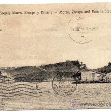 Postales: CUBA, 1913, FUERTES MORRO, ZOCAPA Y ESTRELLA, CIRCULADA. Lote 30674226