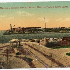 Postales: CUBA, MALECON Y CASTILLOS PUNTA Y MORRO, REVERSO PUBLICIDAD. Lote 30685804