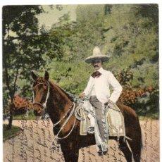 Postales: MEXICO, UN CHARRO MEXICANO, PARQUE DE CHAPULEPEC, SIN DIVIDIR, MAGNIFICA. Lote 31792029